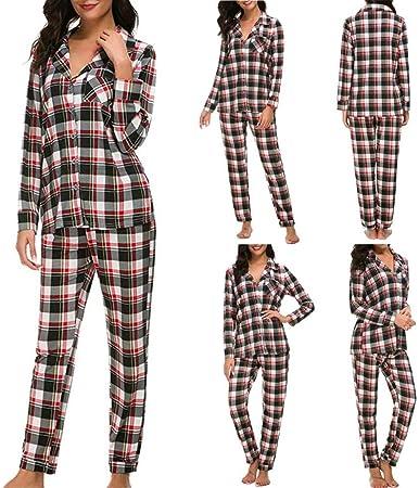 zysymx Pijamas Mujer Lady Conjuntos de Ropa de Dormir para Mujer Bamboo Long Sleeve Grid 2 Piezas Camiseta y Conjunto Largo # 801 пижама женская Color- L: Amazon.es: Hogar