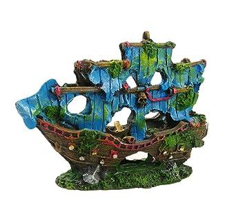 OHlive - Adorno de Barco Pirata para Acuario con diseño de Barco Roto para esconder Peces, Cuevas, peceras, paisajes: Amazon.es: Productos para mascotas