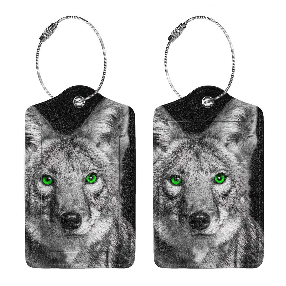 Green Eyed Coyote Travel Luggage Tags With Full Privacy Cover Leather Case And Stainless Steel Loop
