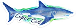 Lantern Press Cape Cod, Massachusetts - Great White Shark - Watercolor - Contour 99108 (Vinyl Die-Cut Sticker, Indoor/Outdoor, Large)