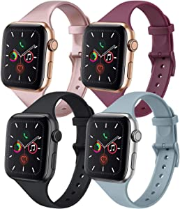 IEOVIEE [Pack 4] Silicone Slim Bands Compatible with Apple Watch bands 42mm 38mm 44mm 40mm Series 6 5 4 3 & SE, Narrow Replacement Wristbands (Rose Gold/Black/Gray/Wine Red, 42mm/44mm S/M)