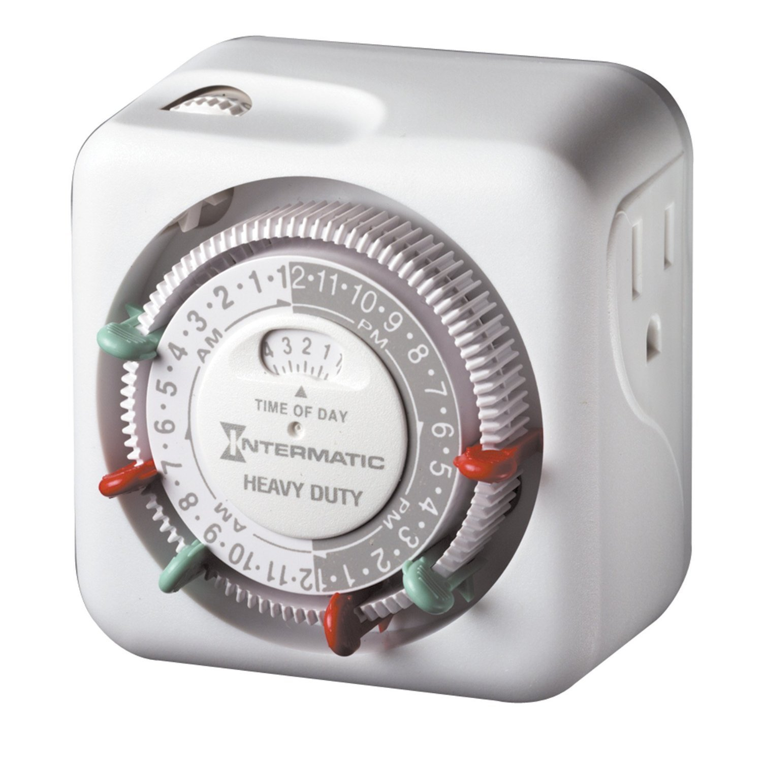 Intermatic TN311 15 Amp Heavy Duty Grounded Timer - with Extra Replacement Tripper (2 Red & 2 Green)