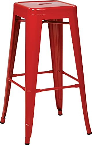 OSP Designs Patterson 30-inch Metal Backless Barstool, Red, 4-Pack