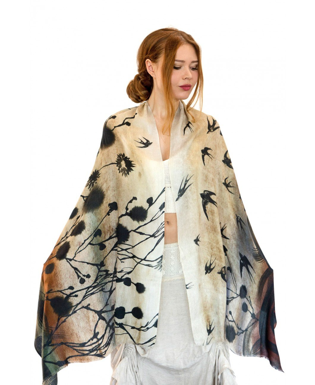 Delicately Hand Painted & Digitally Printed Yellow Swallows Bird Summer Scar Shawl