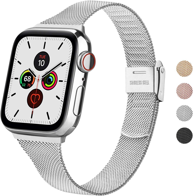 Wanme Correa Compatible con Apple Watch Correa 44mm 42mm 40mm 38mm, Estrecha y Fina Pulsera de Repuesto de Acero Inoxidable Hebilla de Metal para iWatch Series 5 4 3 2 1 (38mm/40mm, Plata)