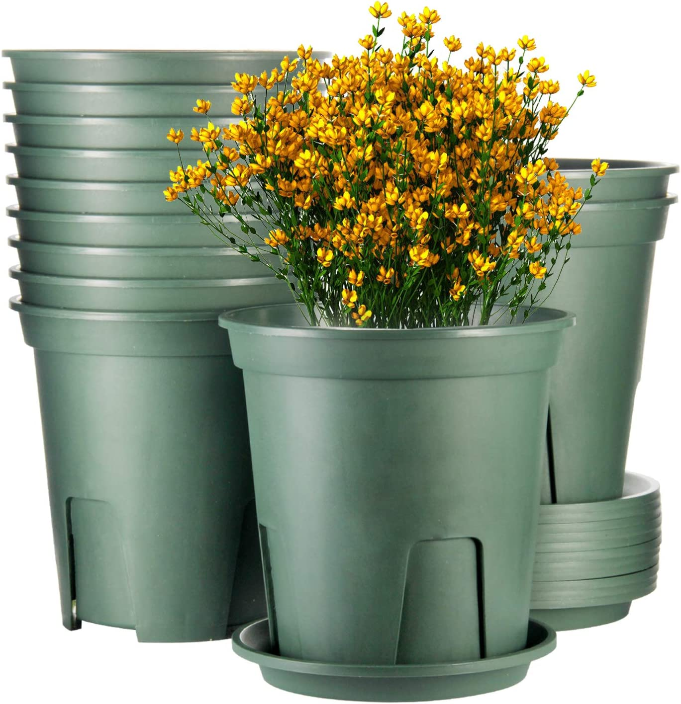 Plant Pots Indoor 7 Inch ,EHWINE 12 Set Plastic Flower Planters with Drainage Hole and Trayr Garden Planters