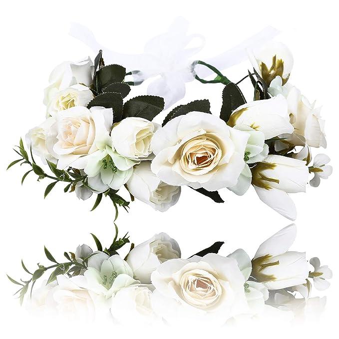Flor Corona Niñas Floral Diadema - Tablón Flor Diadema Guirnalda Ajustable  para Mujer Cabello Corona Novia Boda Flor Coronas  Amazon.es  Belleza 4262b24ab6ec