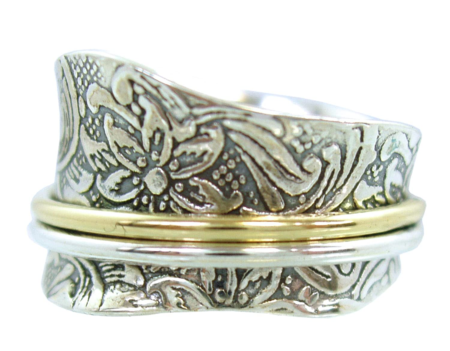 Energy Stone Etched Floral Tapered Meditation Spinning Ring (Style US21)