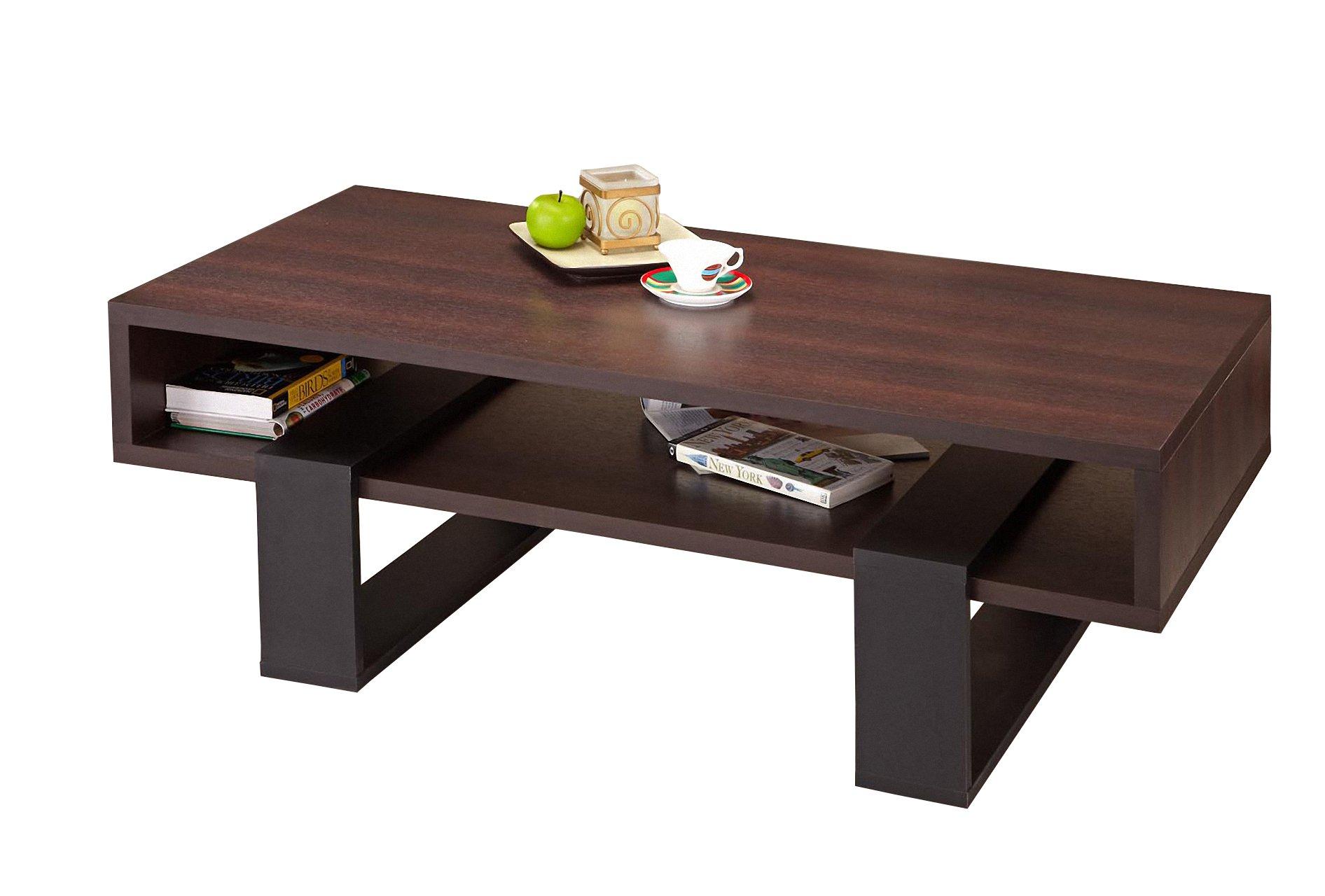 ioHOMES Monroe Rectangular Coffee Table, Walnut and Black