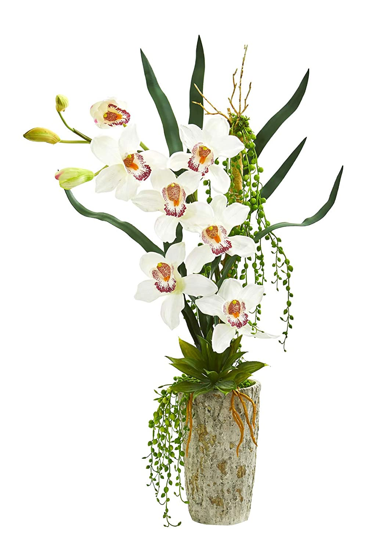 造花 - シンビジウム 蘭 プランターのホワイトアレンジメント B07KVCQW82