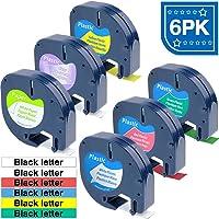ASprinte 6PK 12mm Color Combo Compatible LetraTag 91331 16952 91332 91333 91334 91335 DYMO Plastic Tape for Label Maker LetraTag Plus LT100H LT100T QX50 4m