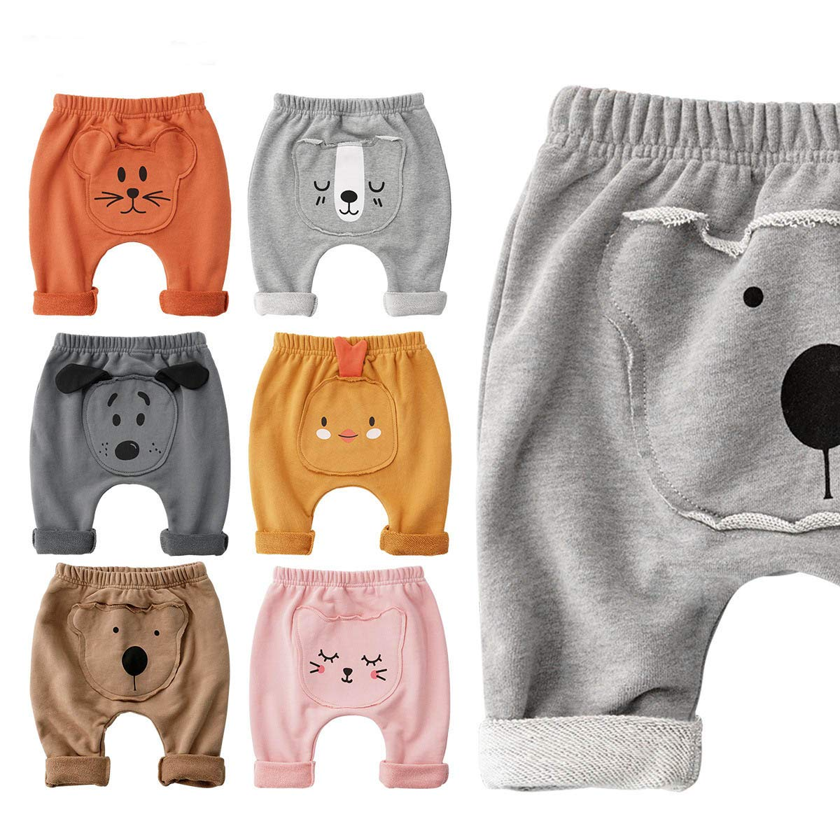 SYCLZ Baby Boys Girls Pants Cartoon Animal Pattern Casual Harem Pants Spring Autumn 3M-24M