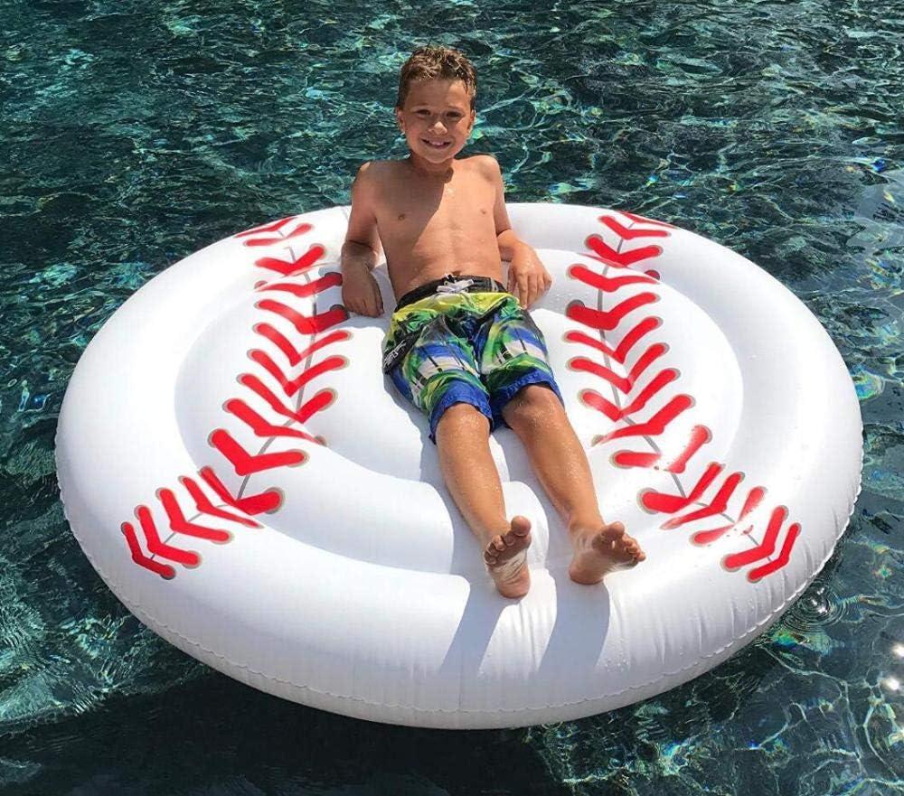 MSFX Ronda De Béisbol Blanca Inflable Cama Flotante Verano Al Aire Libre Anillo De Natación Fila Flotante Portátil Niños Adultos Piscina De Flotación Juegos De Billar Tapete De Playa Juguete Flotante