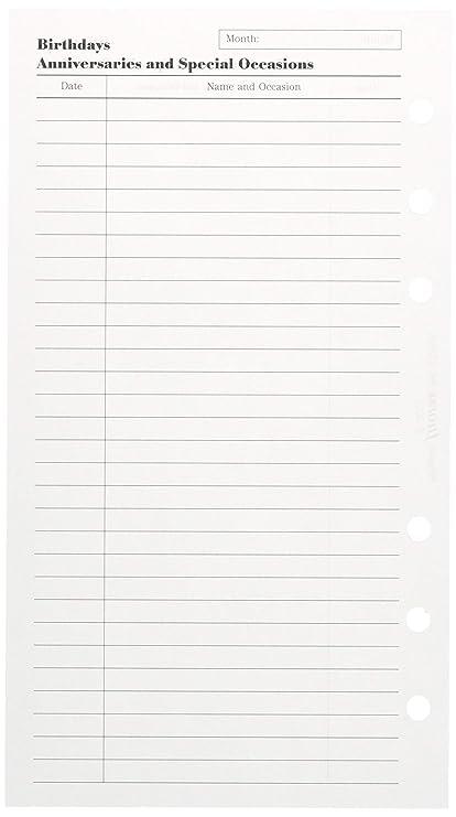 Filofax 132608 - Recambio de hojas para agenda (20 hojas, diseño con texto en inglés de acontecimientos importantes), color blanco con impresión en ...