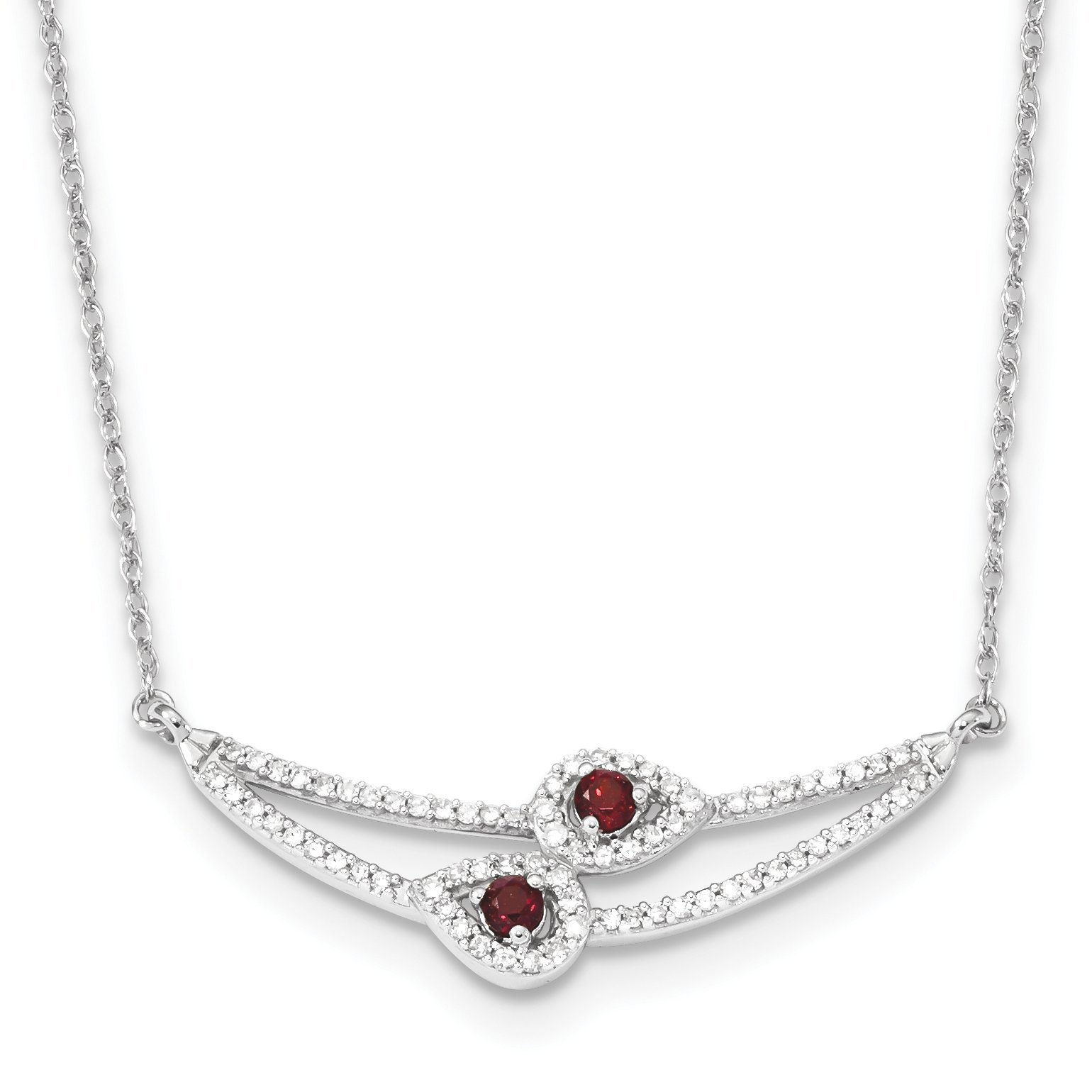 ICE CARATS 14k White Gold Diamond Red Garnet Chain Necklace Gemstone Fine Jewelry Gift Set For Women Heart