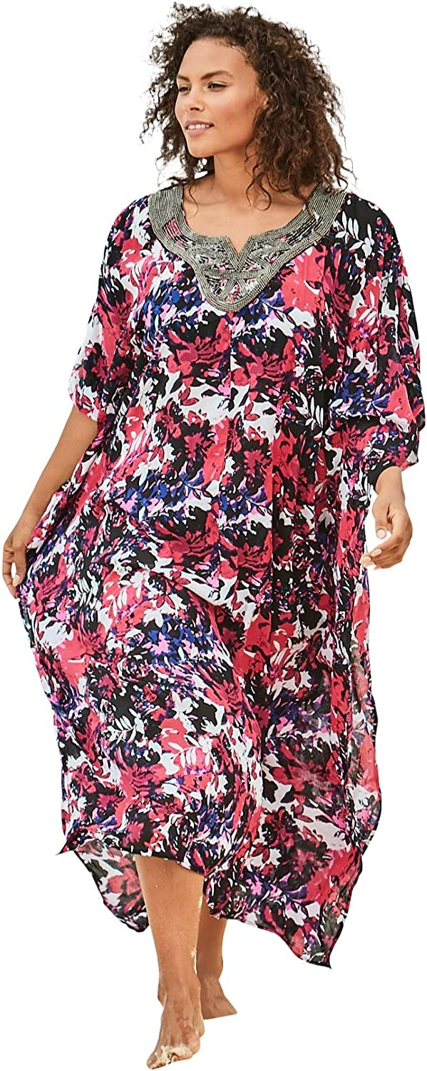 Swimsuits For All Womens Plus Size Long Embellished Cover Up