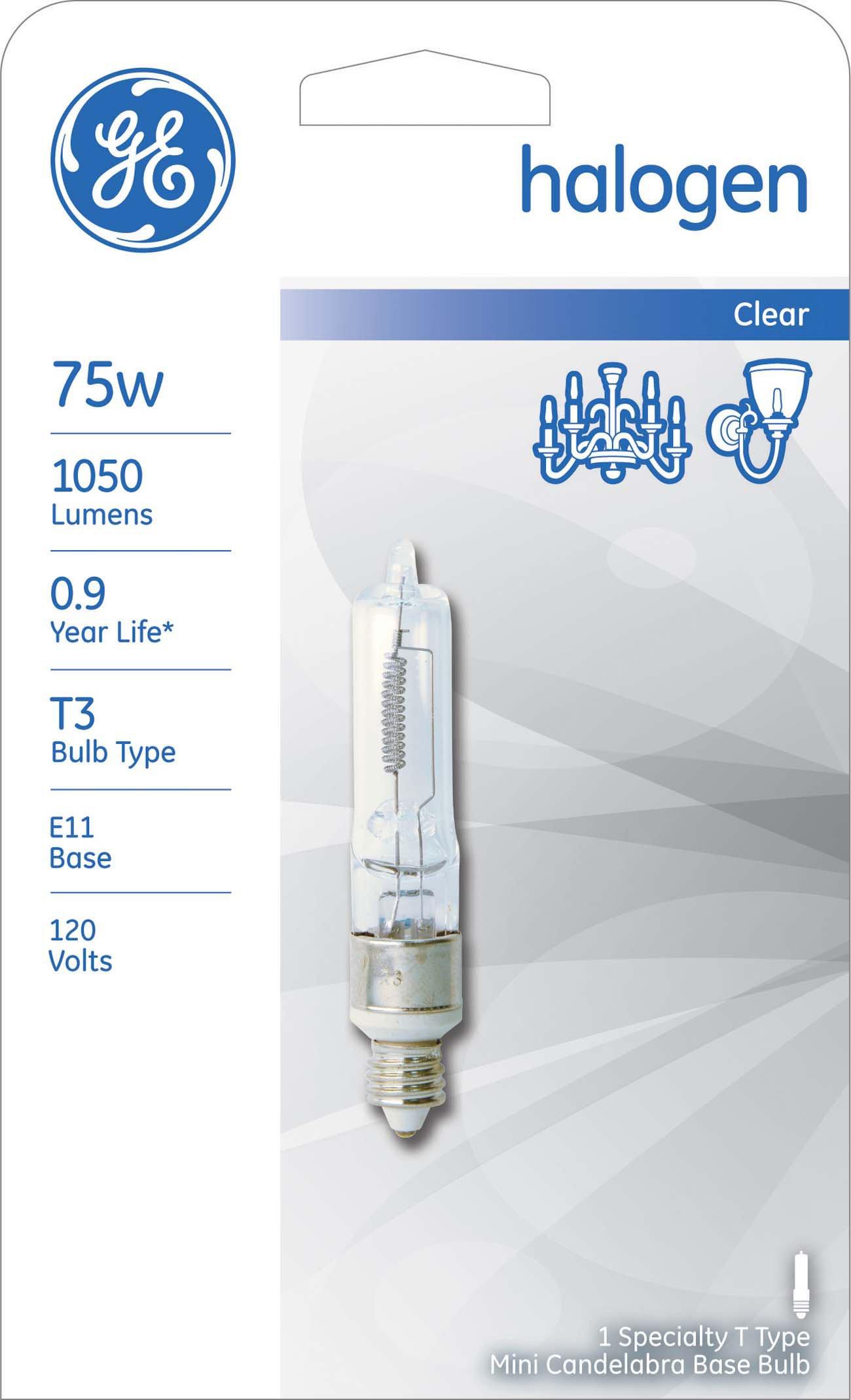 GE Lighting Halogen 12715 75-Watt, 1050-Lumen T3 Light Bulb with Candelabra Base, 5-Pack