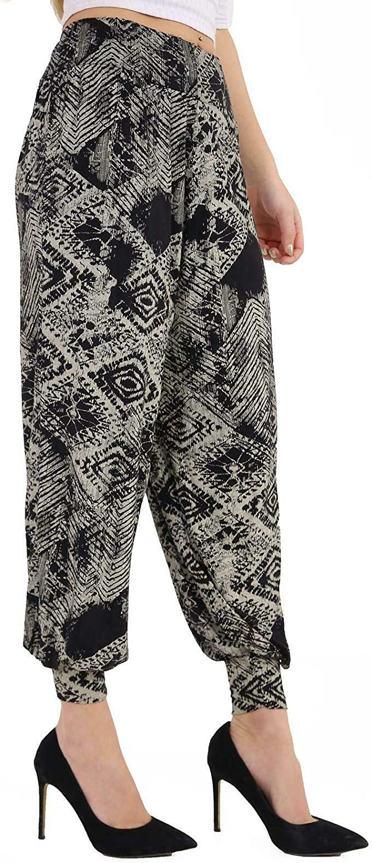 Ladies Cuffed Bottom Ali Baba Printed Harem Pants Womens Full Length Trousers