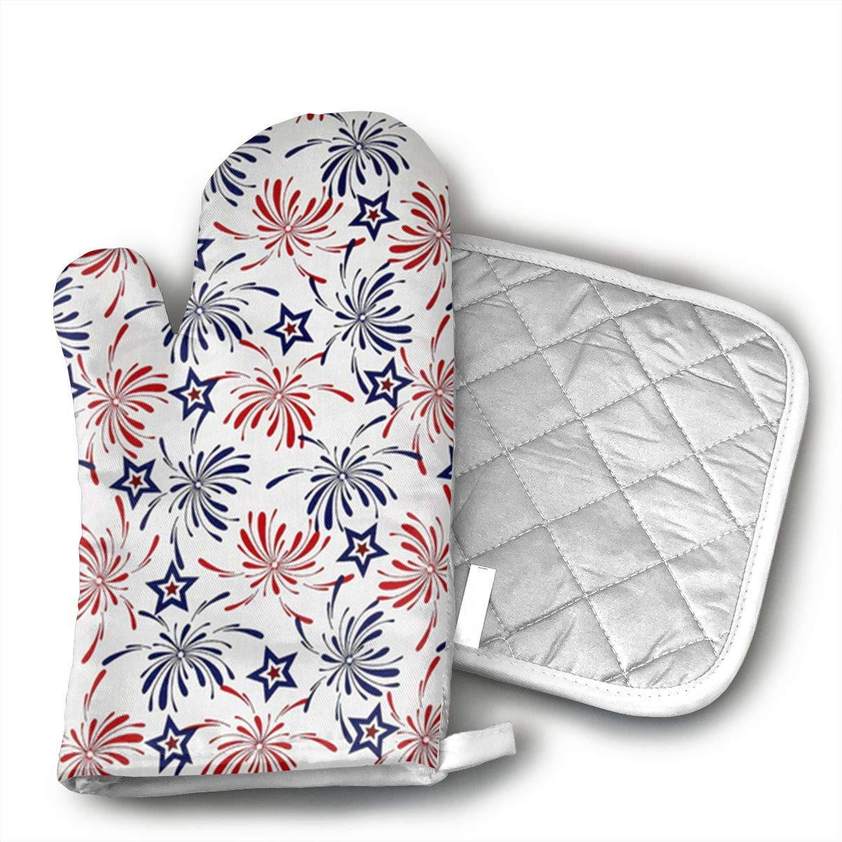 Patriotic Prints Oven Mitts, Professional Heat Resistant Microwave BBQ Oven Insulation Thickening Cotton Gloves Baking Pot Mitts with Soft Inner Lining