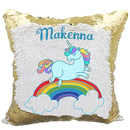 Queen54ferna Rainbow Unicorn Fundas de cojín de Lentejuelas ...