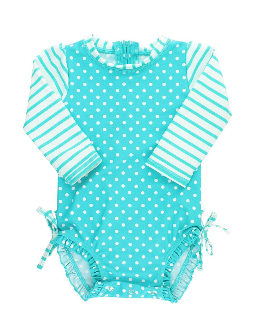 RuffleButts Baby/Toddler Girls Long Sleeve One Piece Swimsuit - Aqua Polka Dot with UPF 50+ Sun Protection - 2T by RuffleButts