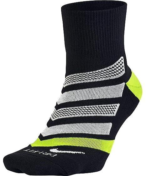 online store 65675 b79b8 Nike Dri-Fit Cushion Dynamic Arch Quarter Running Socks, Black Volt White
