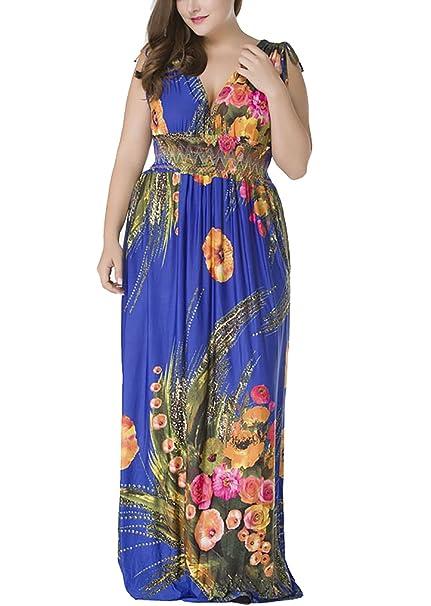 Mujer Vestido Playa Largos Vintage Floreadas Vestidos De Verano Lindo Chic Sin Mangas V Cuello Cintura