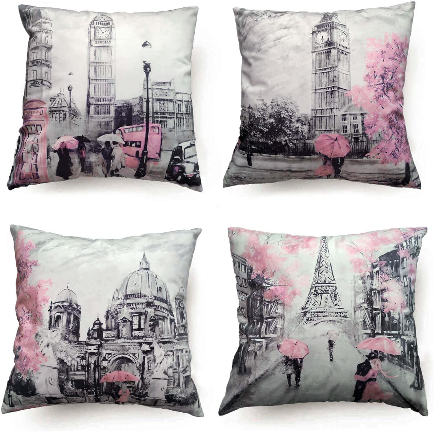 Paris Decor for Bedroom Throw Pillow Covers 18x18 for Couch Living Room Accent Decorative Pillows Covers Cute Pink Eiffel Tower Decor Bedroom Decor for Couples Square Outdoor Pillow Case Set of 4
