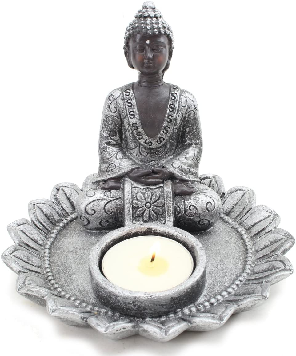 """Feng Shui Small 4"""" Round Thai Meditating Silver Buddha Tea Light Holder / Candle Holder / Incense Holder Figurine (G16642) ~ We Pay Your Sales Tax"""