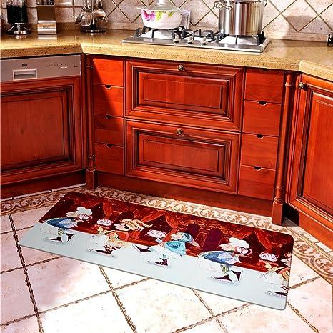 USTIDE Vintage Chef Design Rubber Kitchen Rug Waterproof Welcome Door Mat  Nonskid Kitchen/Laundry Rugs