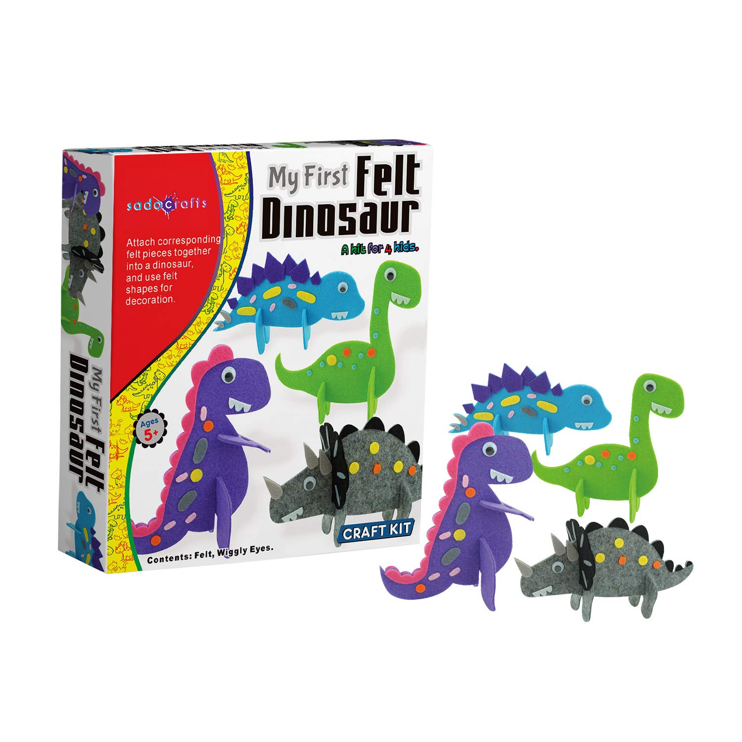 SadoCrafts My First Felt Dinosaur Kit Educational and DIY Dinosaur Felt for Kids Ages 5 and Above Fun Toys for Travel Activities and More Interactive