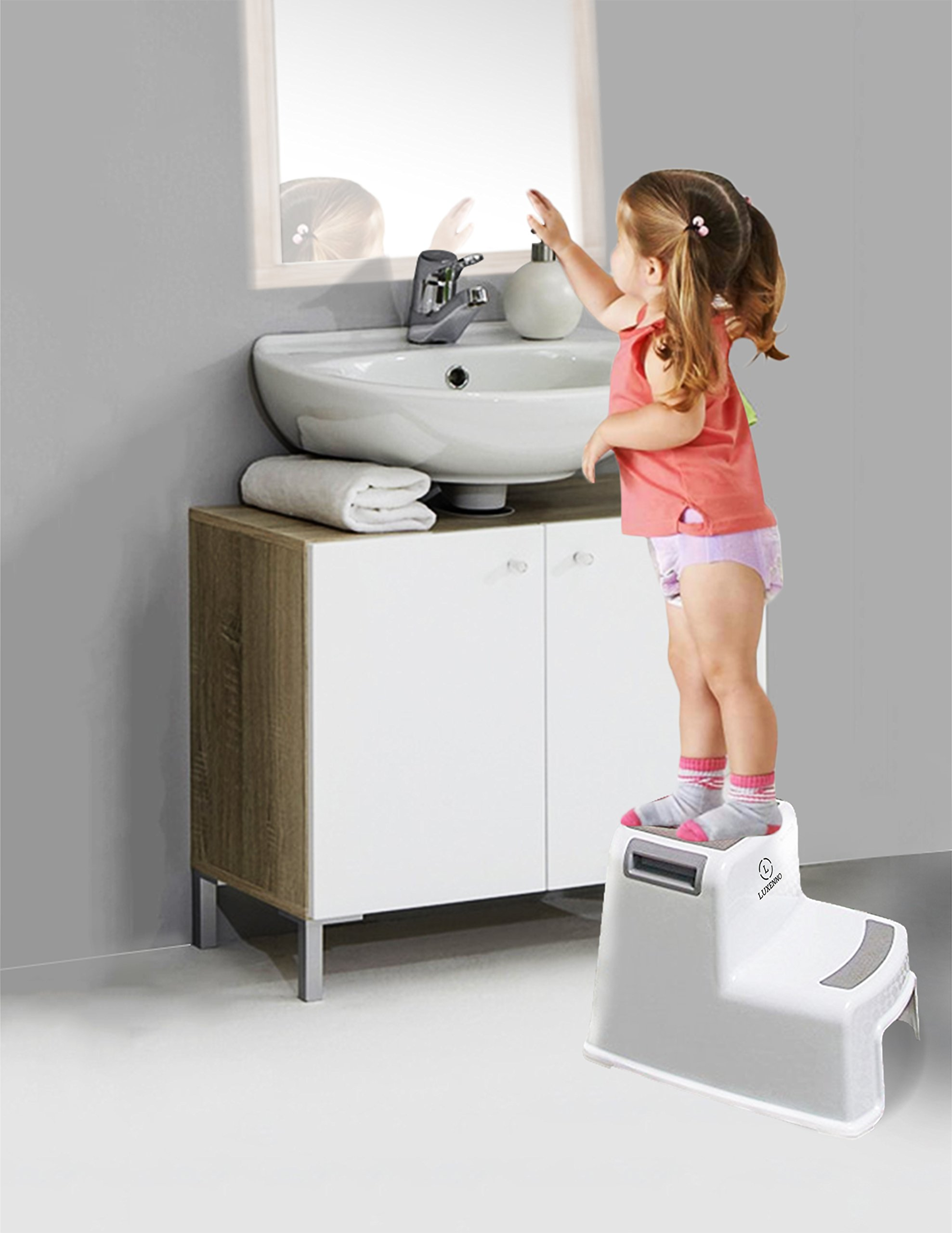 (2 Pack) Dual Height Step Stool for Toddlers & Kids, Nursery Step Stool Potty Training Stool for Bathroom, Kitchen, Two-Step Design with Soft No-Slip Grips and Safe, White & Grey, by Luxenno by LUXENNO (Image #4)