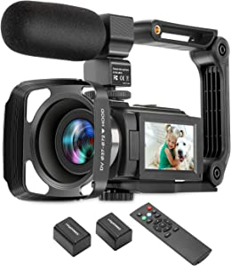 ZUODUN 4K Camcorder 60FPS Ultra HD Vlogging Video Camera for YouTube 48MP 16X Digital Zoom IR Night Vision WiFi Vlog Recorder with 3 Inch Touch Screen Microphone Remote Control Stabilizer