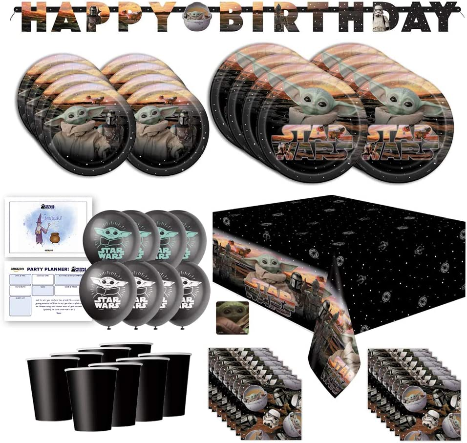 Baby Yoda Mandalorian The Child Themed Happy Birthday Party Supplies for Kids, Serves 16, Decor and Dinnerware with Balloons, Banner, Table Cover, Party Planner, Cups, Plates, Napkins, Sticker and Party Planning List