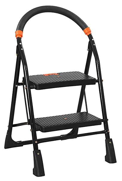 Parasnath Black Heavy Folding Ladder with Wide Steps Milano 2 Steps 2.1 Ft Ladder (Made in India)