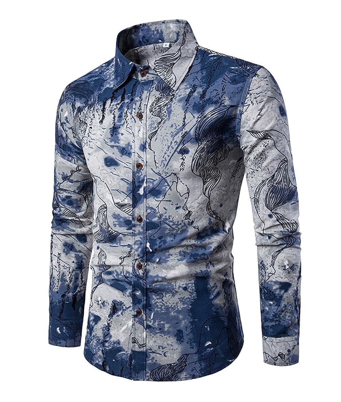 GOMY Uomo Funky Stampato Biancheria Camicia Manica Lunga Fantasia Floreale Casuale Shirt Modello Unico XS-1388