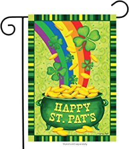 "Dtzzou Happy St.Pat's Garden Flag 12"" x 18"" Decorative Shamrock Clover Garden Flag Gold Pot Coin Rainbow Double Sided Flag for St. Patrick's Day Decoration"