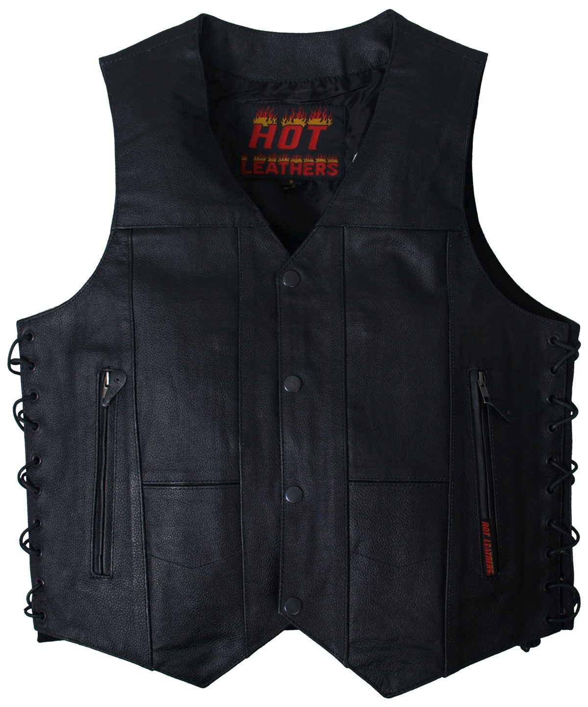 Hot Leathers Men's Ten Pocket Leather Vest (Black, X-Large) by Hot Leathers