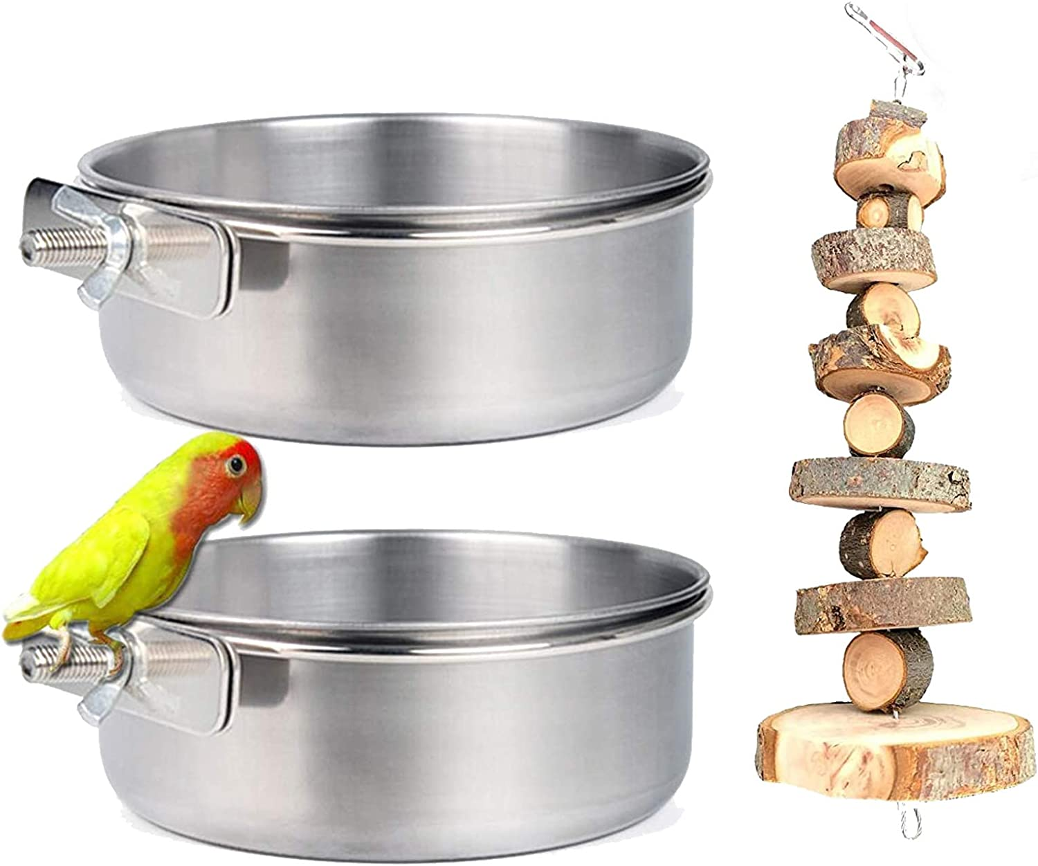VCZONE 2 Pack Bird Feeding Dish Cups Stainless Steel Food Bowl Clamp Holder Parrot Bird Cage Water Bowl and 1 Pack Natural Apple Wood Grass Cake (2 Cups + 1 Apple Wood Grass Cake)