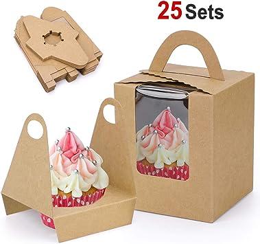 Howaf 25 Cajas para Regalo, Cajas de Papel Kfraft para cupcake con ...