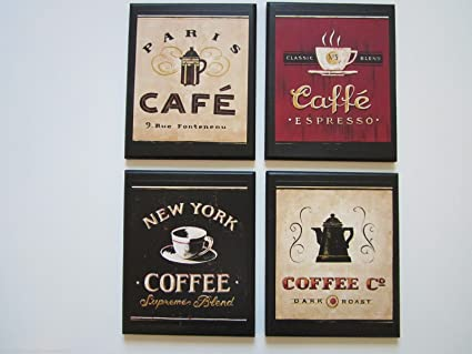 Bon Coffee Plaques, 4 Piece Set, Kitchen Wall Decor Signs, New York, Paris