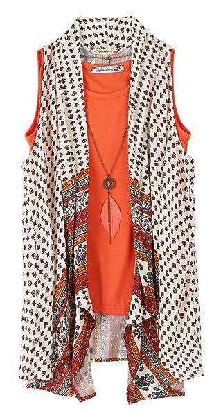 c041652762b Amazon.com  Speechless Girls  Big 2 Piece Printed Gauze Vest with ...
