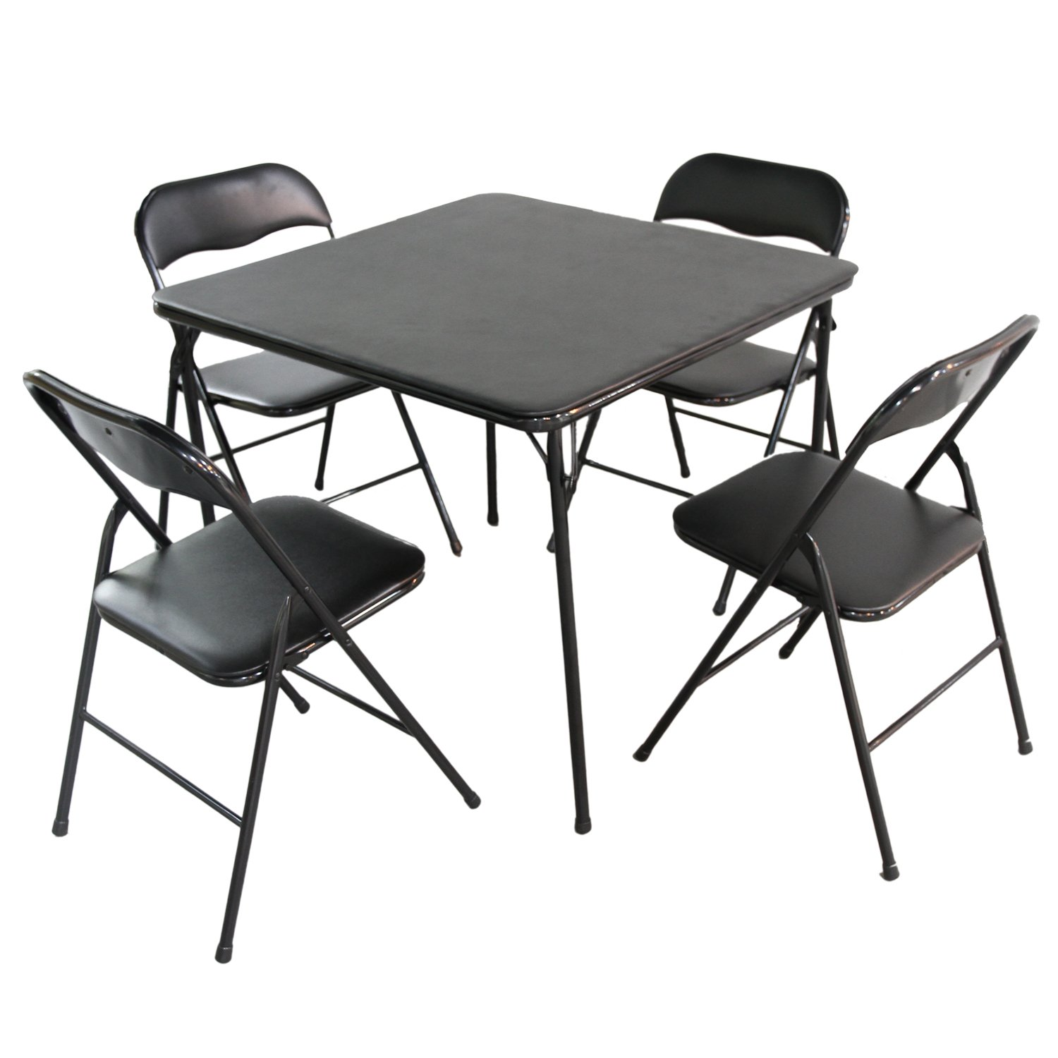 Edeco 5-piece Folding Table and Chair Set, Black by Edeco