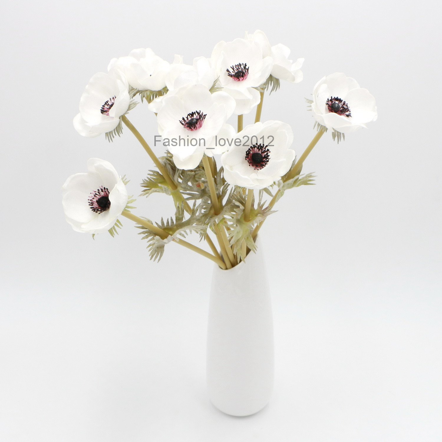 Amazon White Anemones Pu Real Touch Flowers 10 Single Stems For