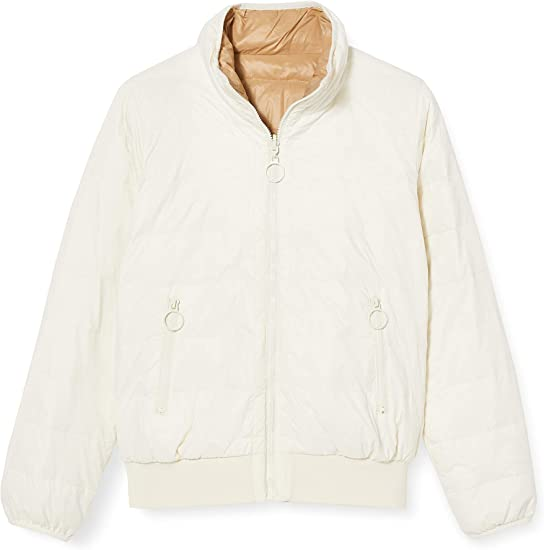 United Colors of Benetton Jacket with Down Chaqueta, Blanco (White Beige 02f), 38 (Talla del Fabricante: 42) para Mujer