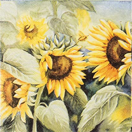 Sunflower Vintage Paper Napkins Decorative Elegant Paper Party Cocktail Napkins 20-count 2-Ply & Amazon.com: Sunflower Vintage Paper Napkins Decorative Elegant Paper ...