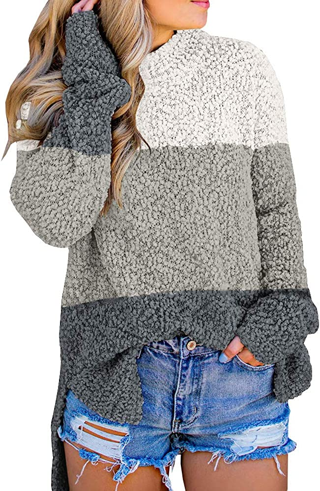 Imily Bela Women's Fuzzy Pullover Sweater Knitted Sherpa Fleece High Neck Side Slit Long Sleeve Jumper Outwears 71yQE545E2L