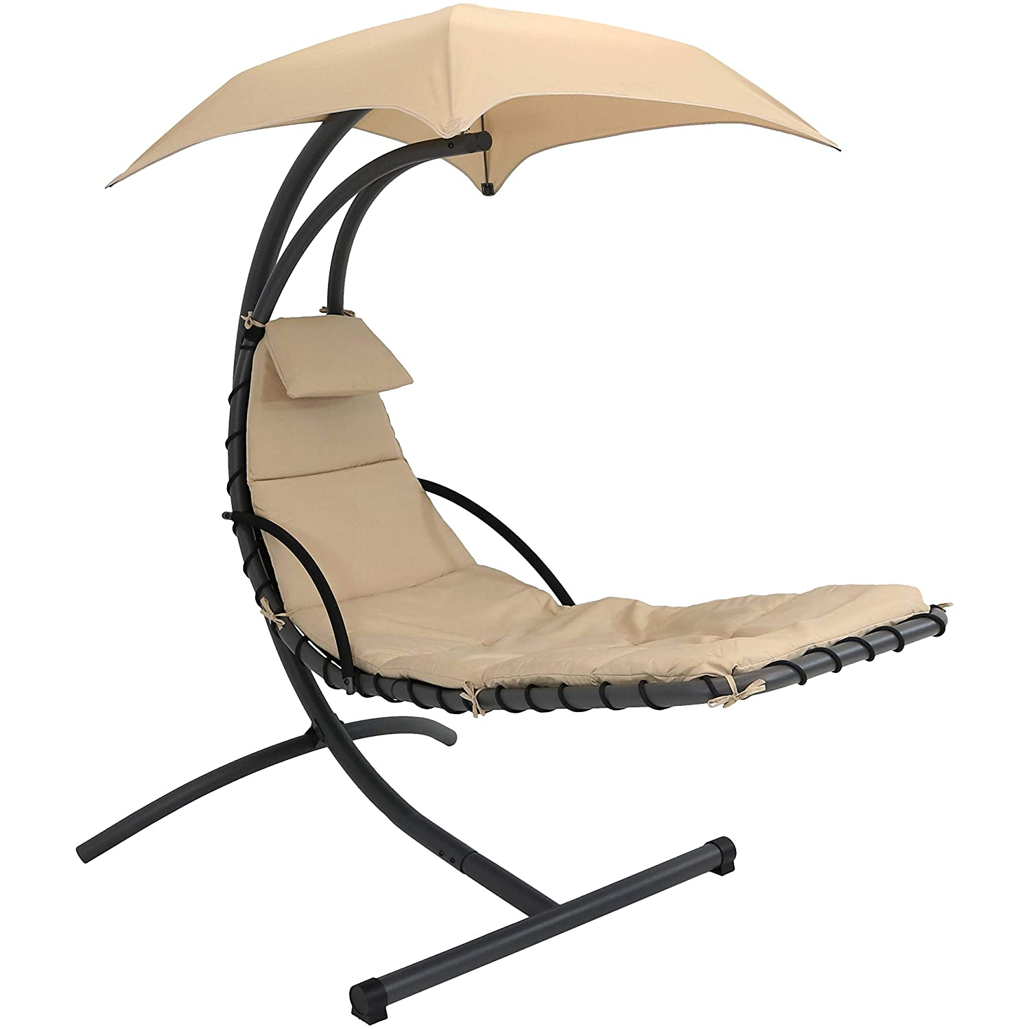 Amazon com sunnydaze floating chaise lounger outdoor hanging hammock patio swing chair with canopy and arc stand beige garden outdoor