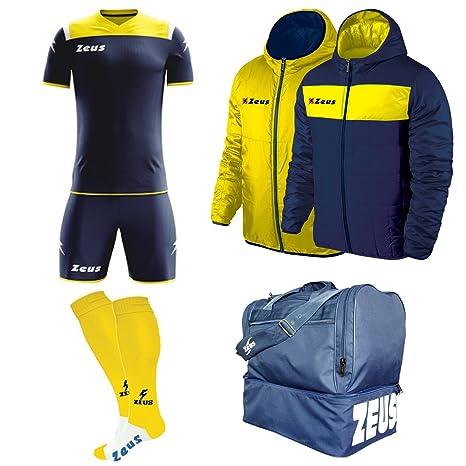 b09cde7a70aa1 Zeus Kit Calcio Vesuvio Calza + Borsone E Giubbotto Calcetto Allenamento -  Completino - Borsa -