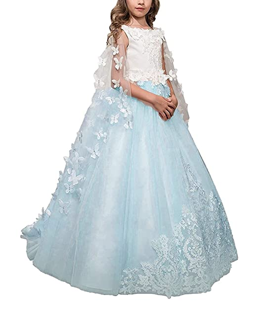 e4cd5dba4c3c6 kengtong Lace Bodice Flower Girl Dresses with Detachable Butterfly Cape First  Communion Dresses: Amazon.co.uk: Clothing
